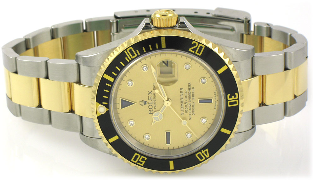 Rolex 16613 with Serti dial and black bezel.  D serial, ca. 2005.