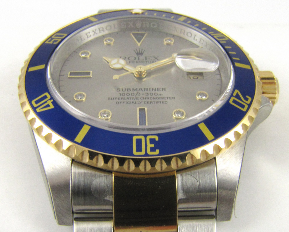 Rolex Submariner 16613 with slate Serti dial.  V serial, ca. 2008-09.
