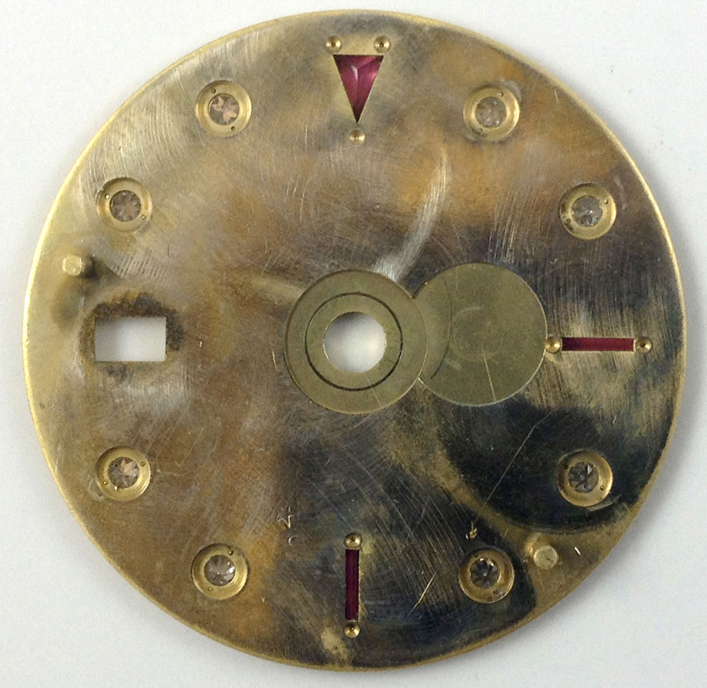 Back of ruby/diamond set Serti dial from 16718 from 1991.