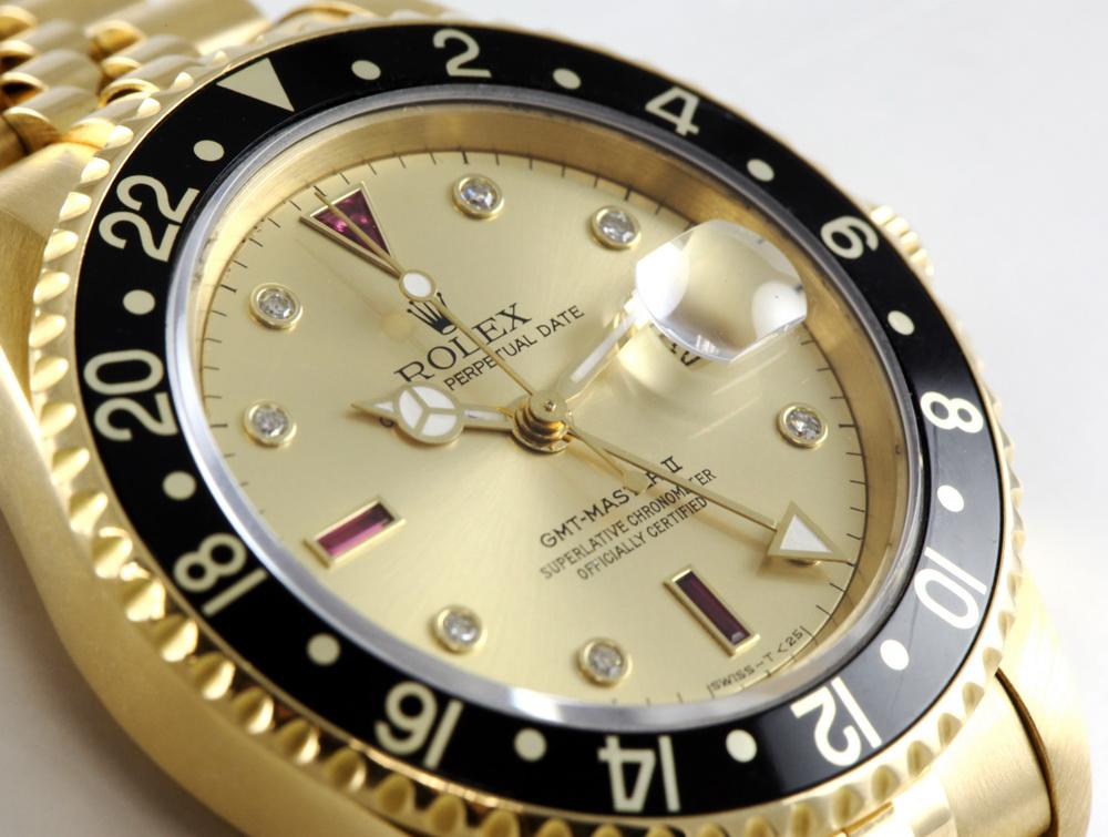 Rolex GMT-Master II with Ruby Serti dial. Ref. 16718, E serial, ca. 1991.