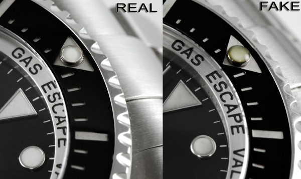 Rolex DeepSea Real vs Fake Bezel Detail