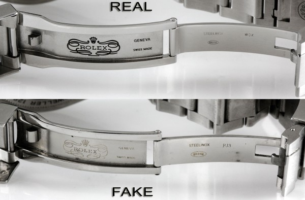 Rolex DEEPSEA Real vs Fake Buckle Etching Detail