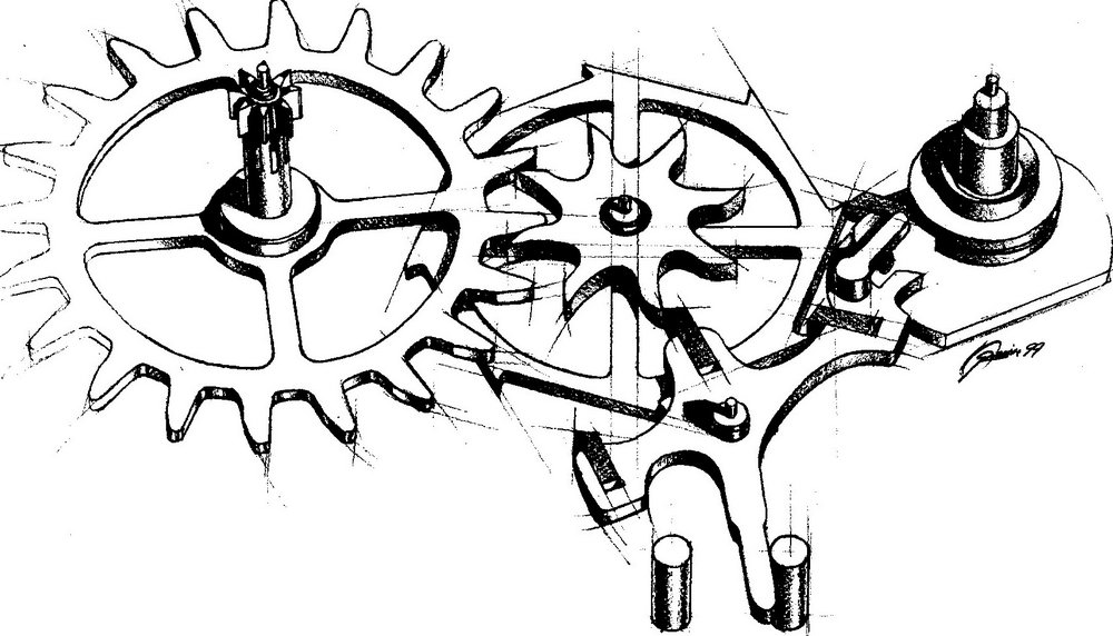 A Co-Axial drawing by its inventor: George Daniels