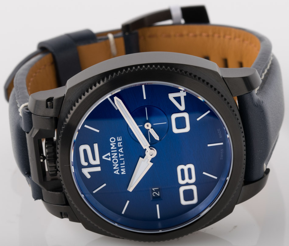 Front view of Militare showing brushed vignette blue  dial