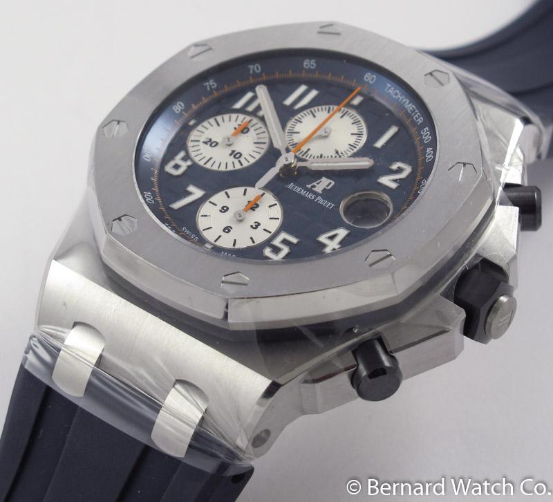 Audemars piguet royal oak offshore chronograph 39 navy 39 26470st oo blue silver for Royal oak offshore navy