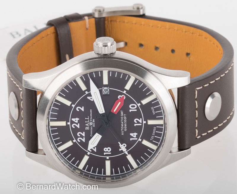 Front view of Engineer Master II Aviator GMT showing brown dial