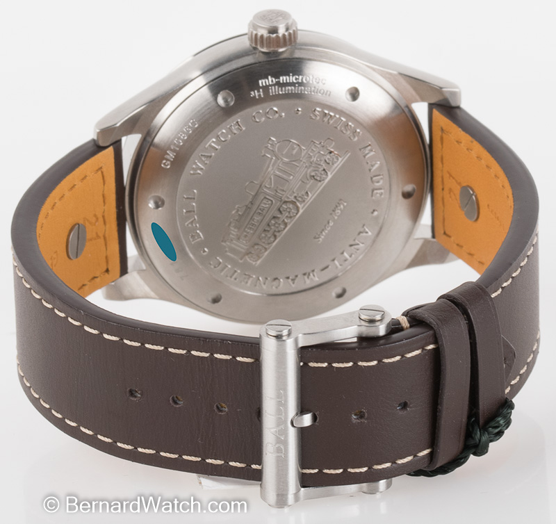 Rear shot of Engineer Master II Aviator GMT with brown calf leather strap