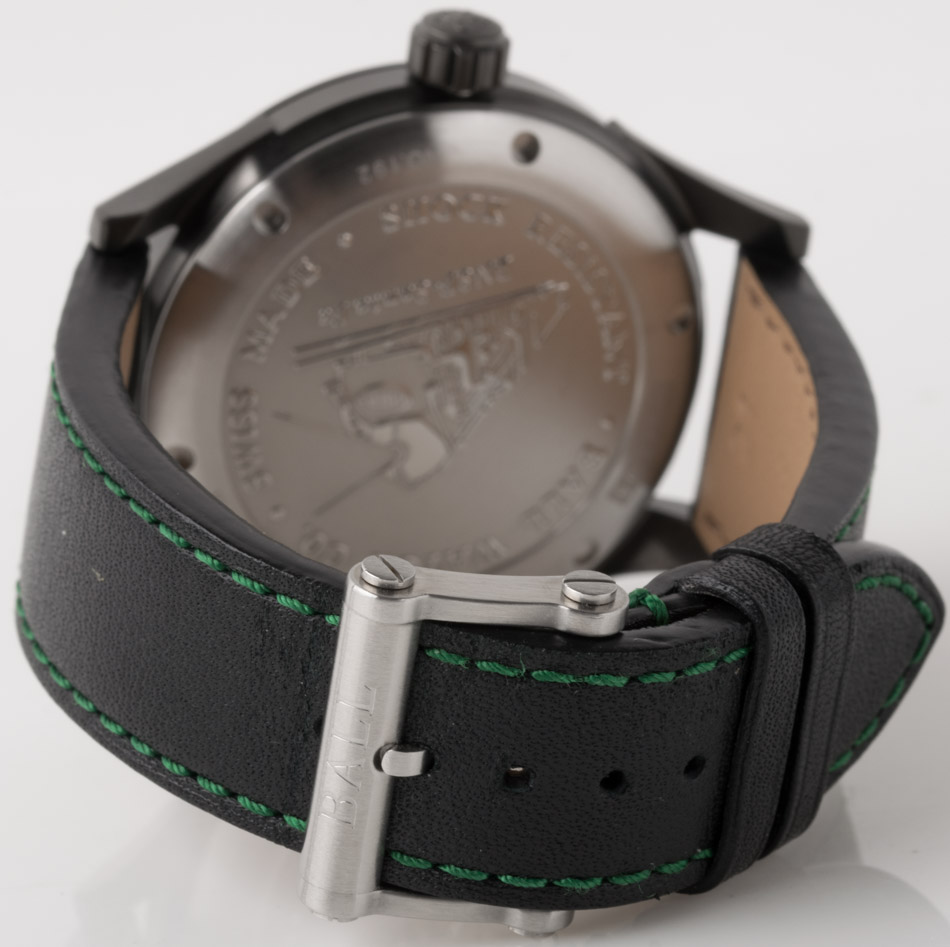 Rear shot of Fireman BNSF-Santa Fe with black leather strap with green stitching