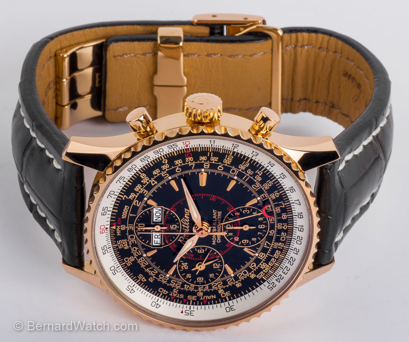 Front view of Navitimer Montbrillant Datora showing black dial