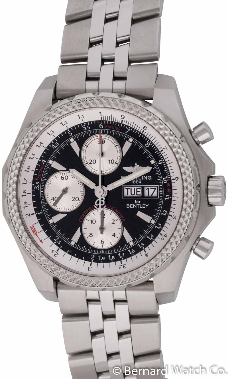 silver dial steel on barnato breitling automatic special bentley edition chronograph watches bracelet stainless
