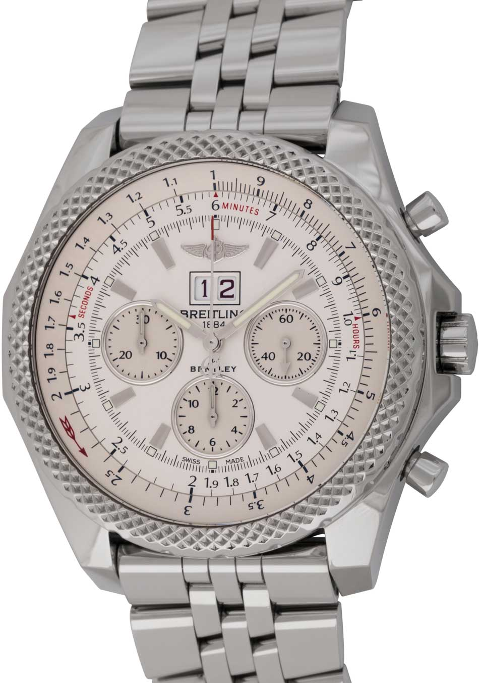 Breitling Bentley 6 75 Chronograph A44364 Sold Out Silver Dial
