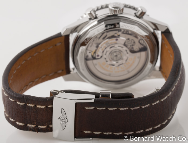 Rear shot of Montbrilliant 01 Limited Edition with brown leather strap (Near Mint, 90%)