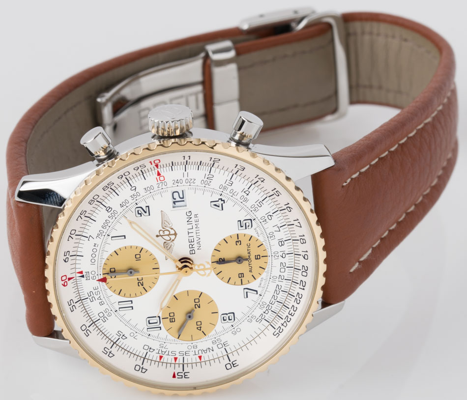 Front view of Old Navitimer II showing silver / gold dial