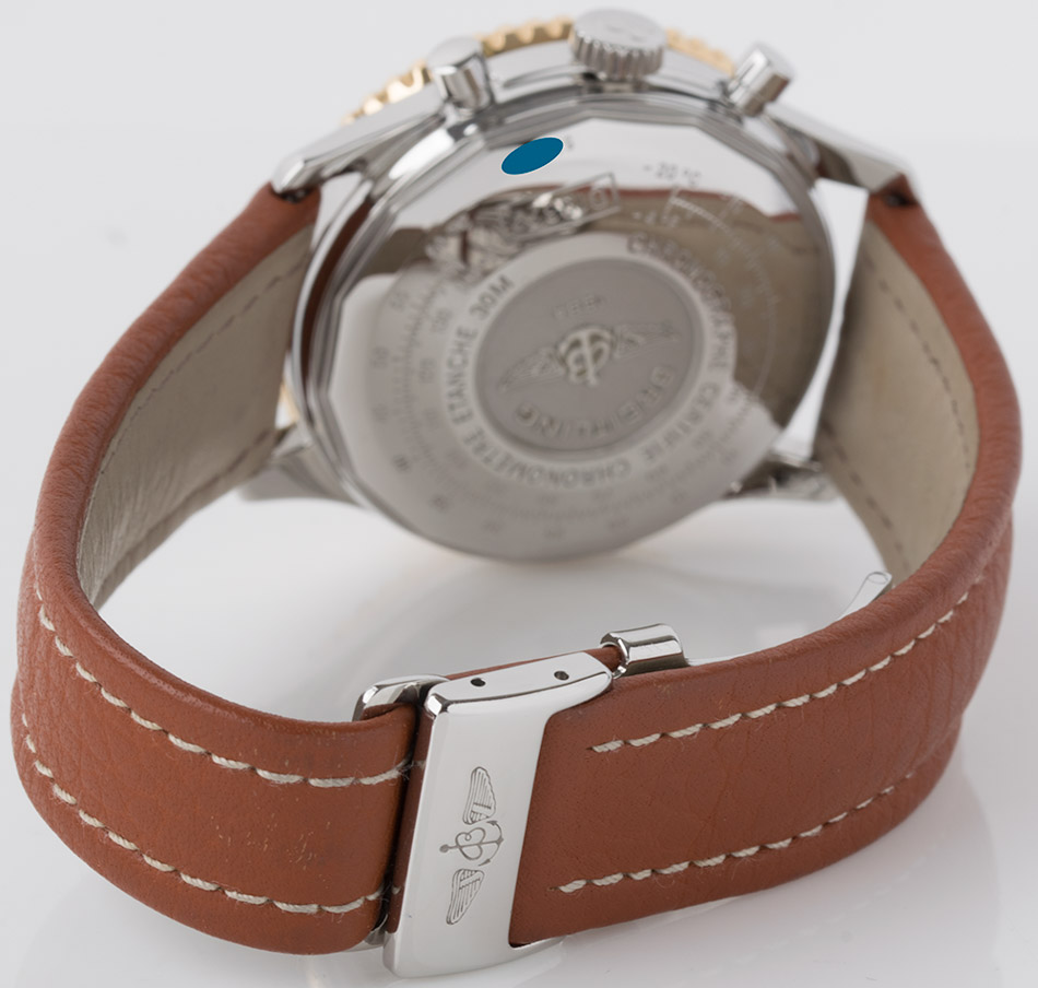 Rear shot of Old Navitimer II with brown leather strap