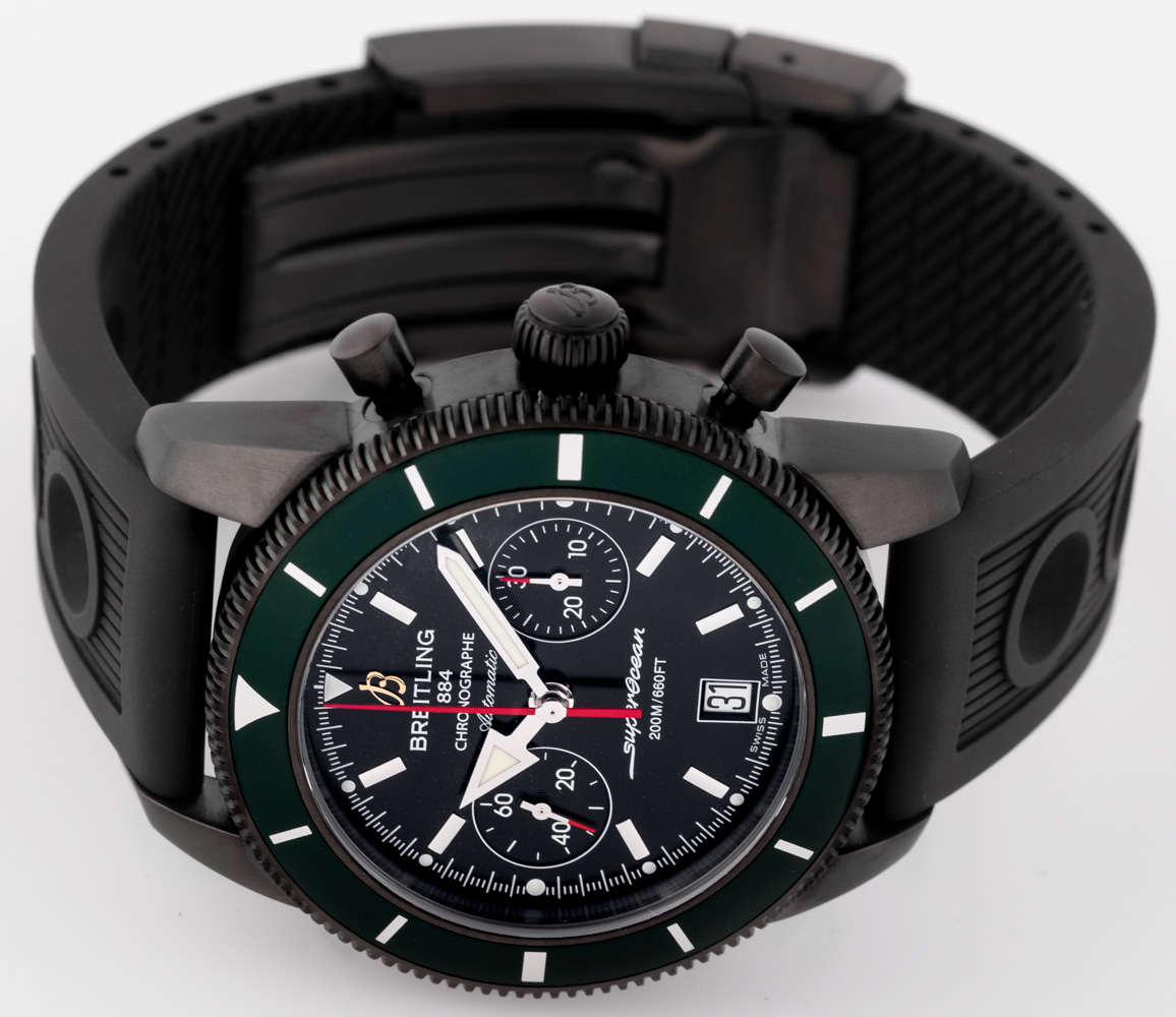 Front view of SuperOcean Heritage Chronograph 44 BlackSteel showing black dial