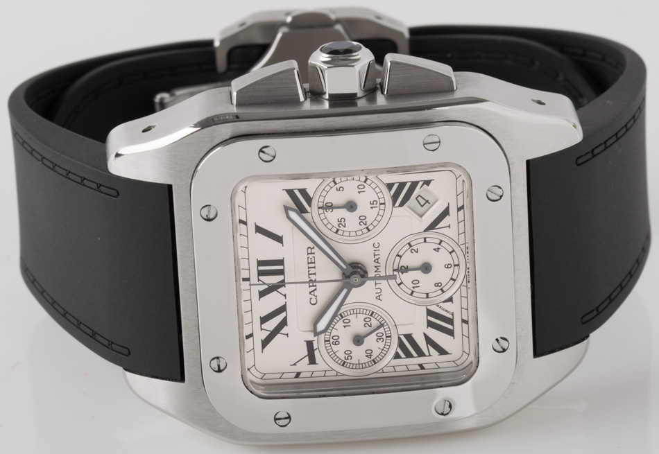 Front view of Santos 100 XL Chronograph showing silver  dial