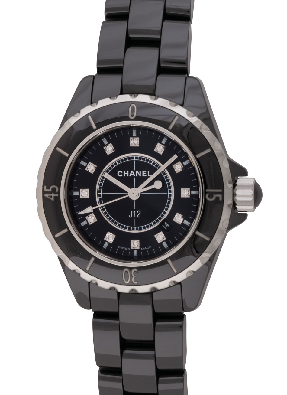 chronograph watch black miltons chanel diamonds ceramic watches image