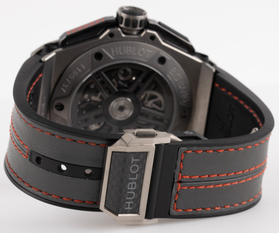 Rear shot of Big Bang Ferrari with black leather strap with red stitching