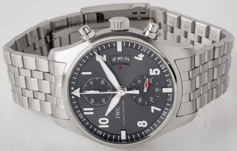 Front view of Spitfire Flyback Chronograph showing gray slate dial