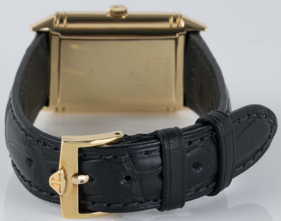 Rear shot of Reverso Midsize with aftermarket black alligator strap