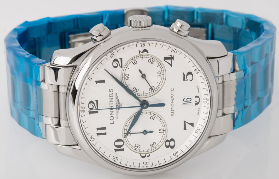 Front view of Master Collection Chronograph showing silver