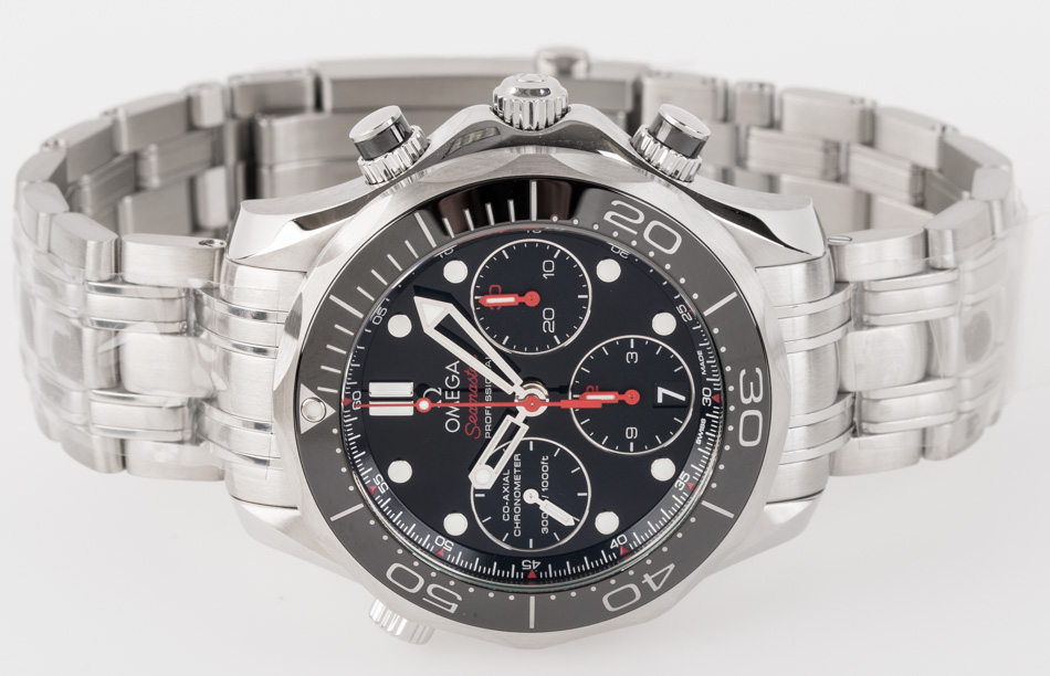 Front view of Seamaster Diver 300M Chronograph showing black dial