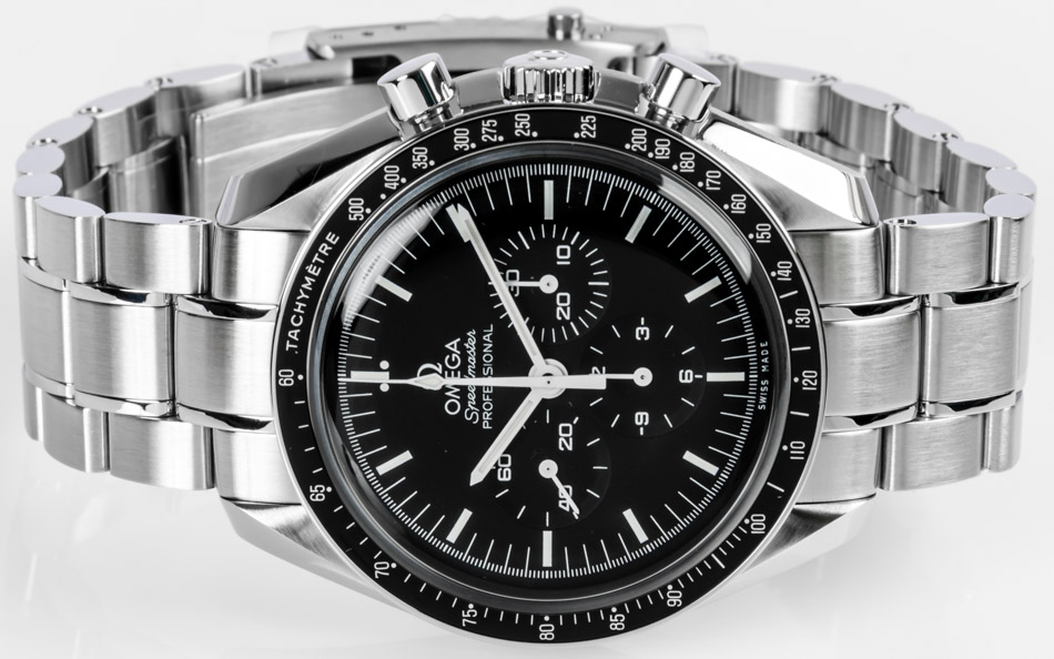 Front view of Speedmaster Legendary Moonwatch showing black dial