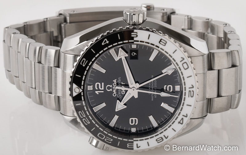 Front view of Seamaster Planet Ocean GMT showing black dial