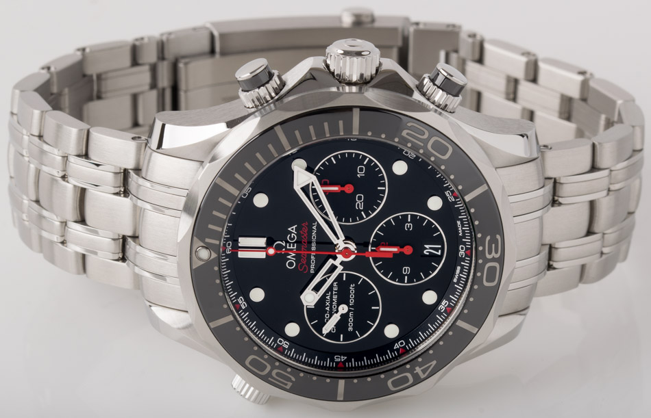 Front view of Seamaster Diver 300M Chronograph showing glossy black dial with matte black registers dial