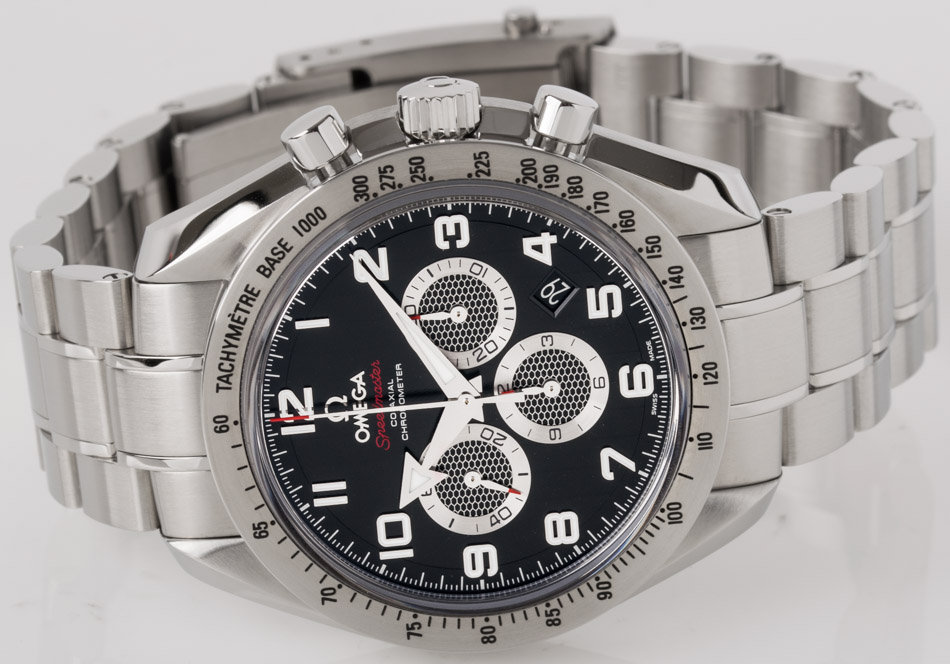 Front view of Speedmaster Broad Arrow Co-Axial Chronograph 44.25 mm showing black dial