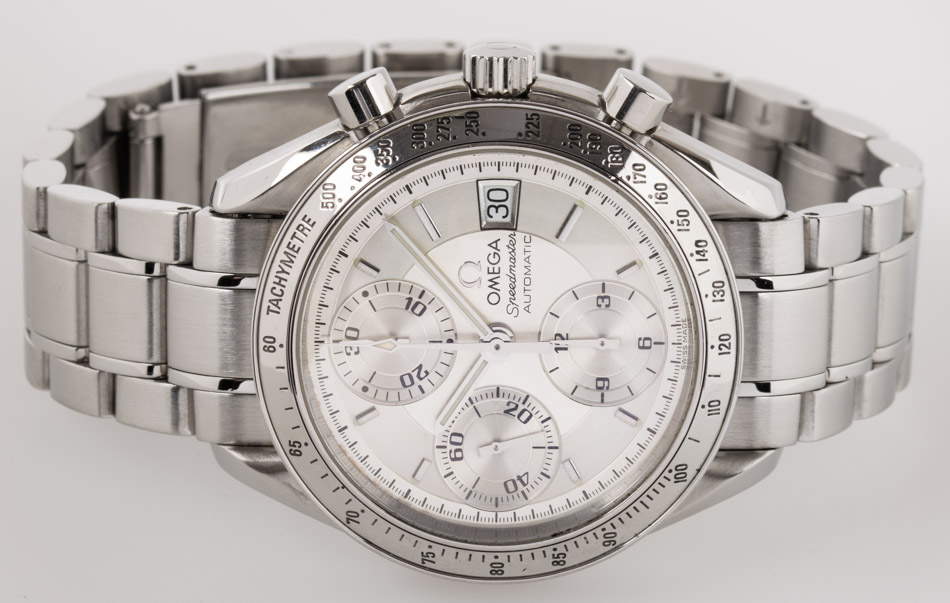 Front view of Speedmaster Date showing silver  dial