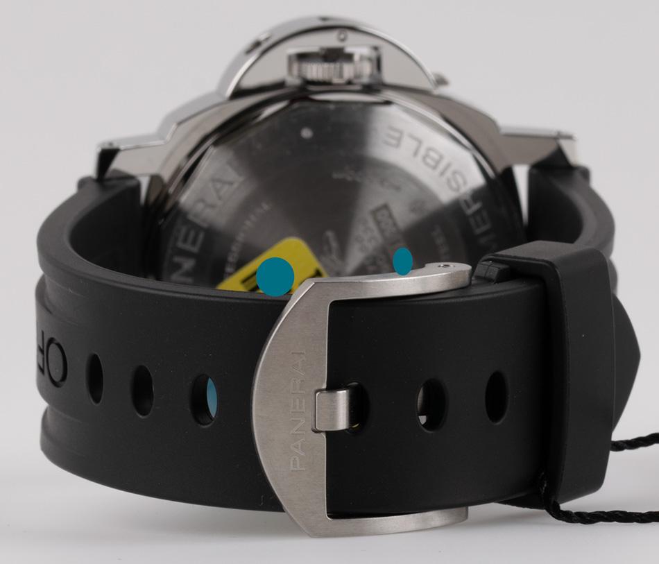 Rear shot of Luminor Submersible with black rubber strap + nylon Velcro strap