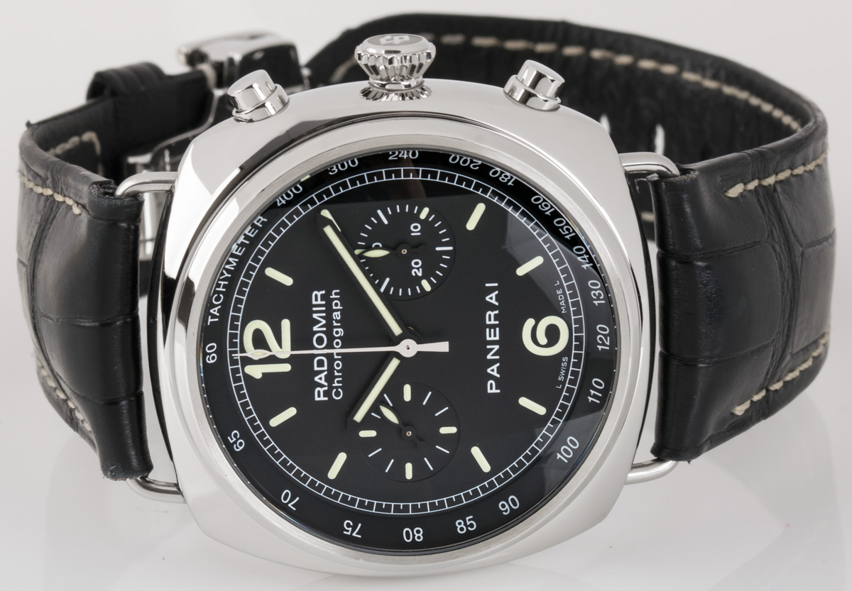 Front view of Radiomir Chronograph showing black dial
