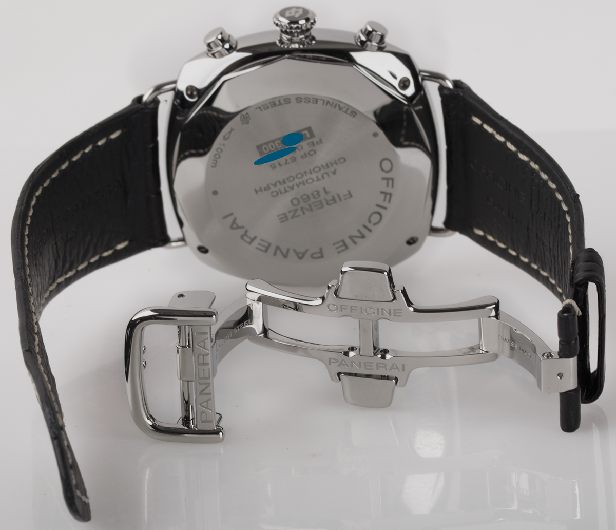 Rear shot of Radiomir Chronograph with black alligator strap