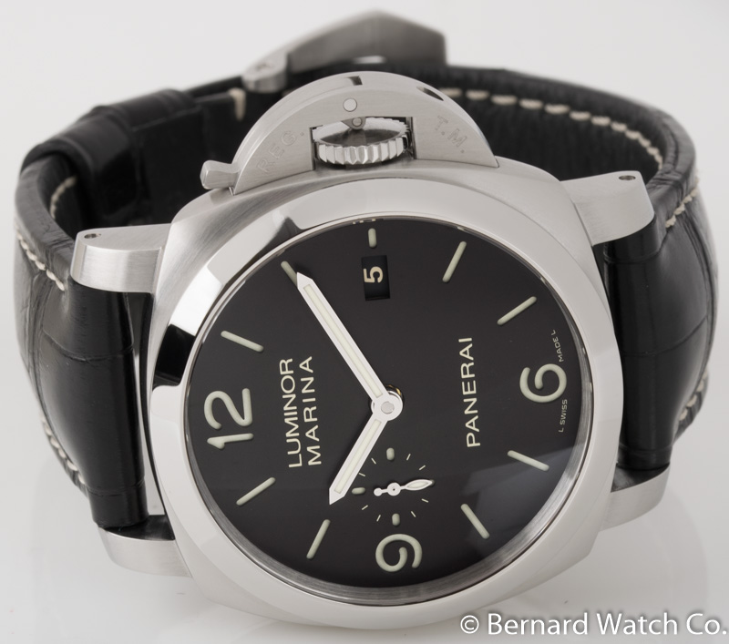 Front view of Luminor 1950 3 Days Automatic showing black 'sandwich' dial