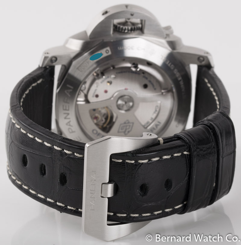 Rear shot of Luminor 1950 3 Days Automatic with black crocodile strap + rubber strap