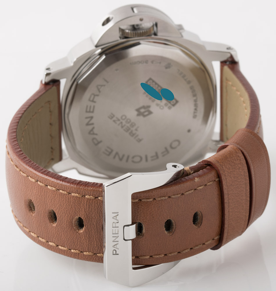 Rear shot of Luminor Marina Logo with brown leather strap + rubber strap