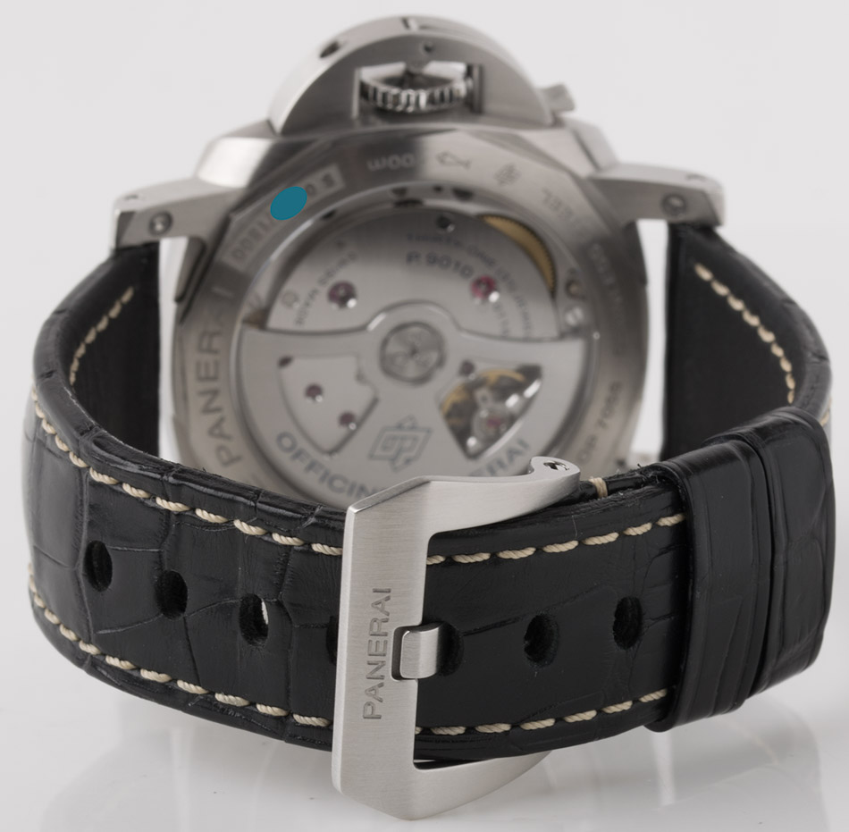 Rear shot of Luminor Marina 1950 3 Days 42mm with black alligator strap