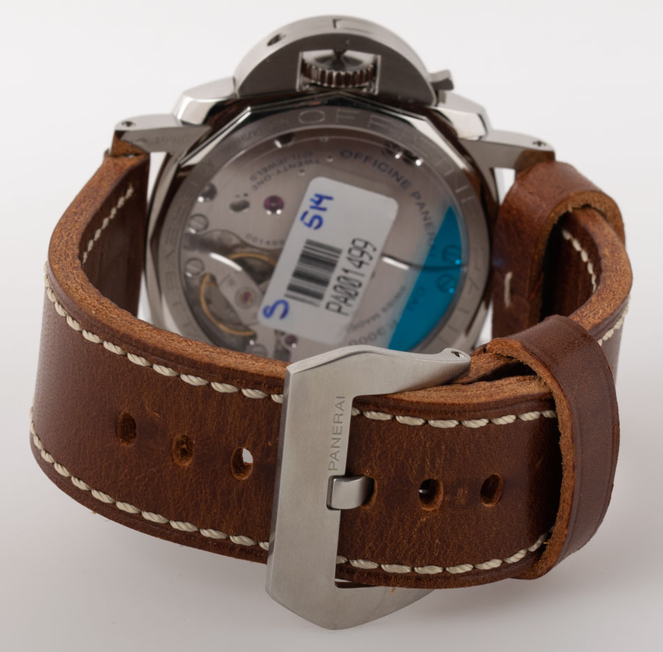 Rear shot of Luminor 1950 3 Days with 2 x brown leather straps