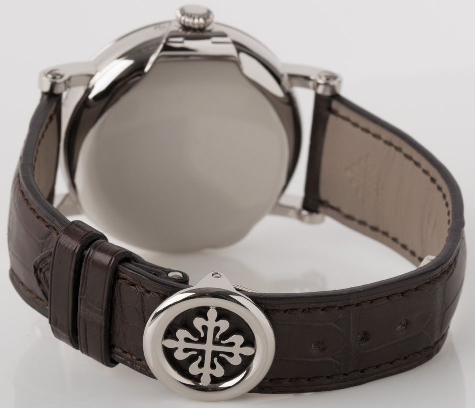 Rear shot of Perpetual Calendar with dark brown leather strap
