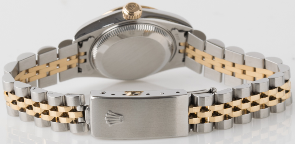 Rear shot of Ladies Datejust with 18k Gold & Stainless Steel Jubilee bracelet