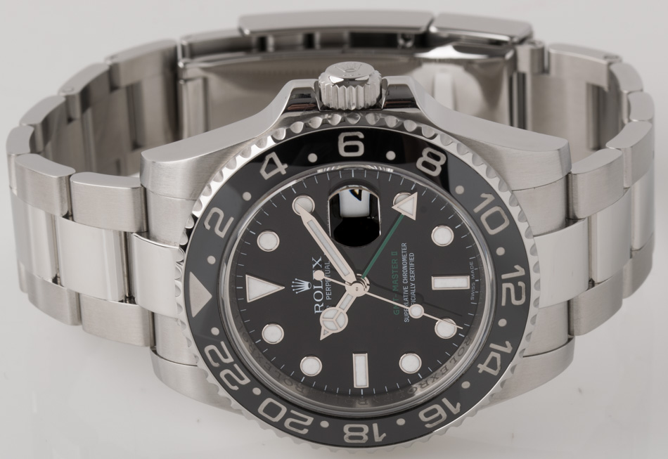Front view of GMT-Master II showing black dial