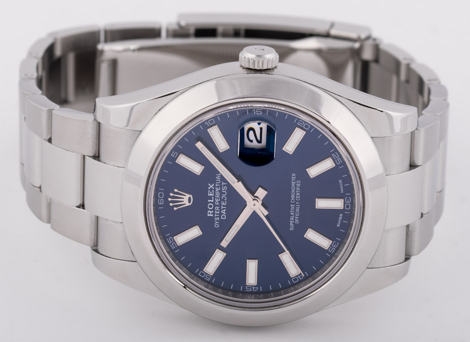 Front view of Datejust II showing blue dial
