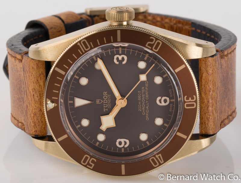 Front view of Heritage Black Bay Bronze showing brown  dial