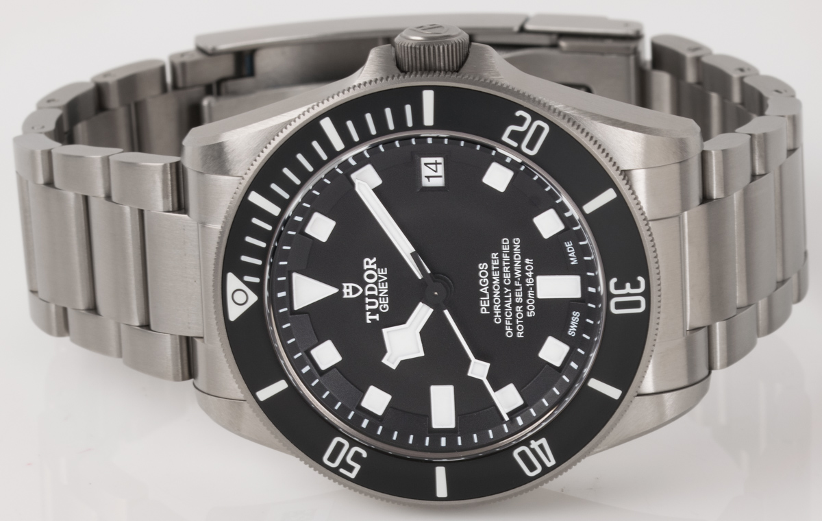 Front view of Pelagos Chronometer showing black dial