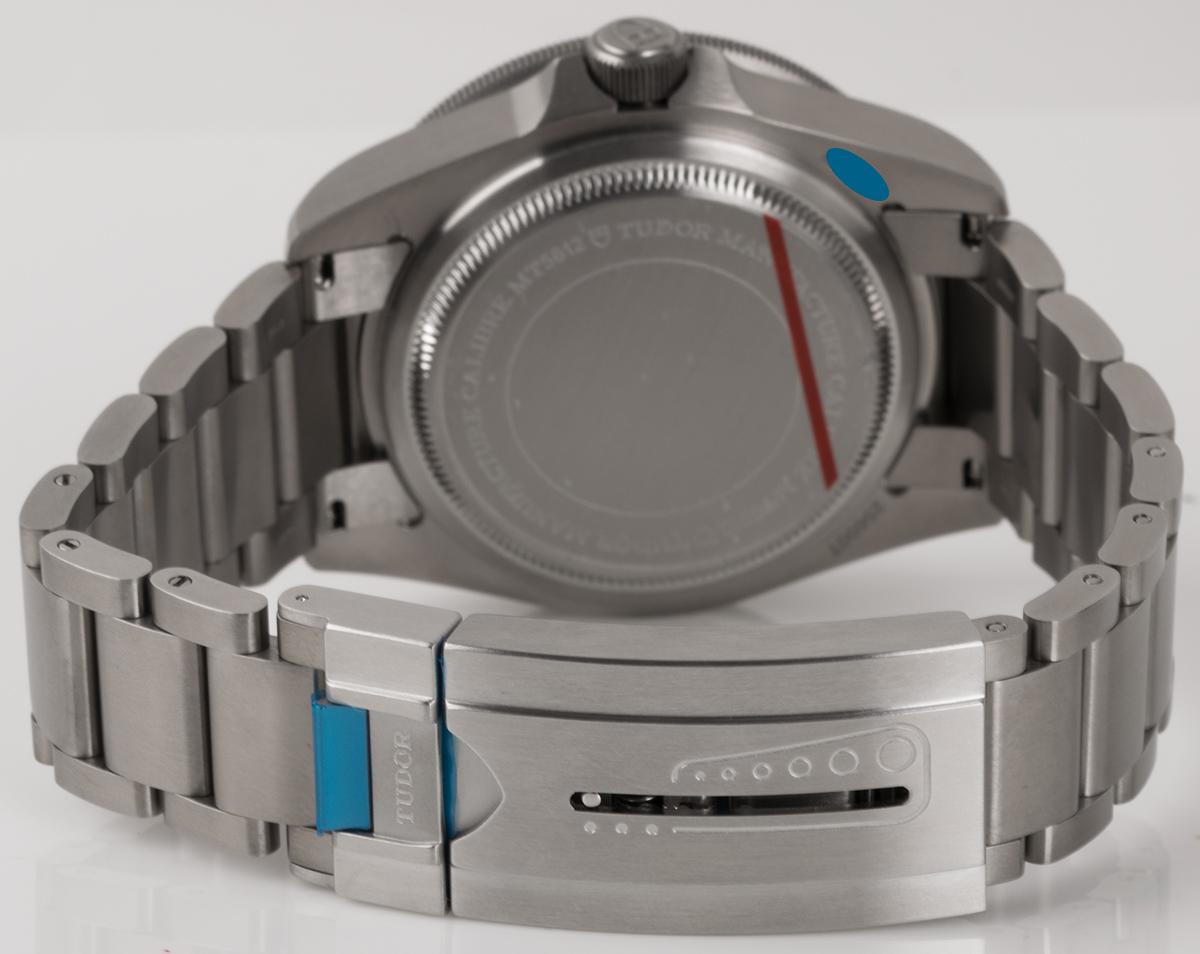Rear shot of Pelagos Chronometer with titanium bracelet + rubber strap