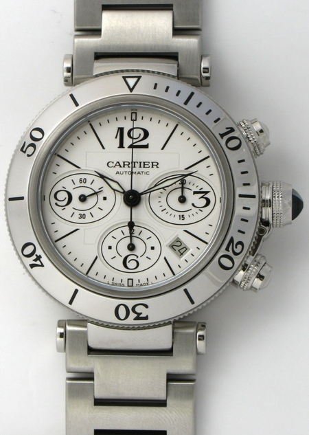 Cartier - Pasha Seatimer Chronograph   W31089M7   SOLD OUT   silver dial 756f94c3a3