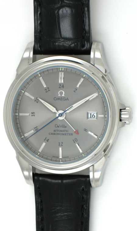 2b61e29cc8d6 Omega - DeVille Co-Axial GMT   4833.40.31   SOLD OUT   gray dial on black  alligator strap (95%